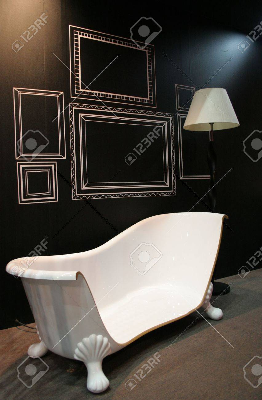 Cut off bathtub with a lamp in a living room - abstract home interior Stock Photo - 326690