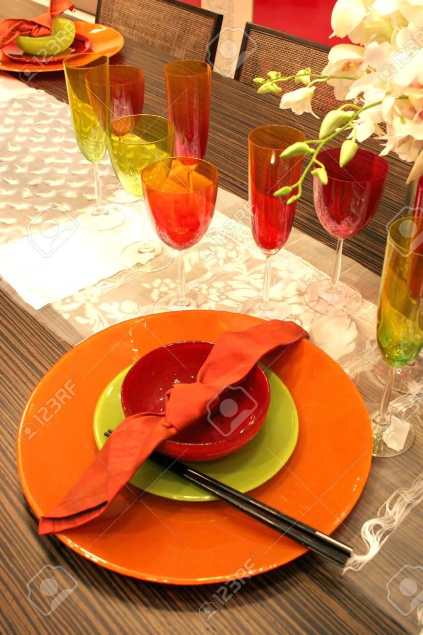 Table setting - home interiors Stock Photo - 356642