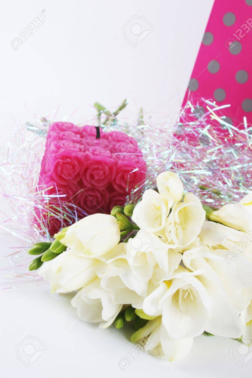 Flowers candle and a gift bag for a birthday or other special flowers candle and a gift bag for a birthday or other special occasion isolated izmirmasajfo