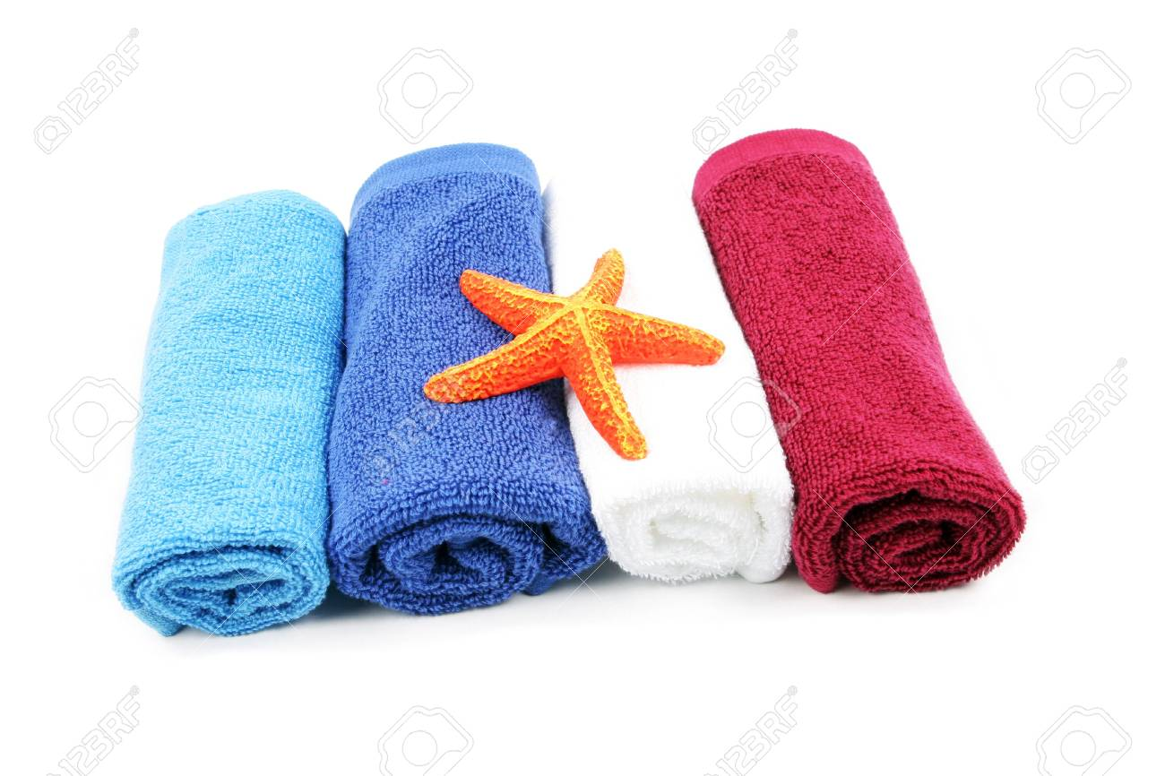 Colorful towels and orange starfish isolated on a white background Stock Photo - 904353