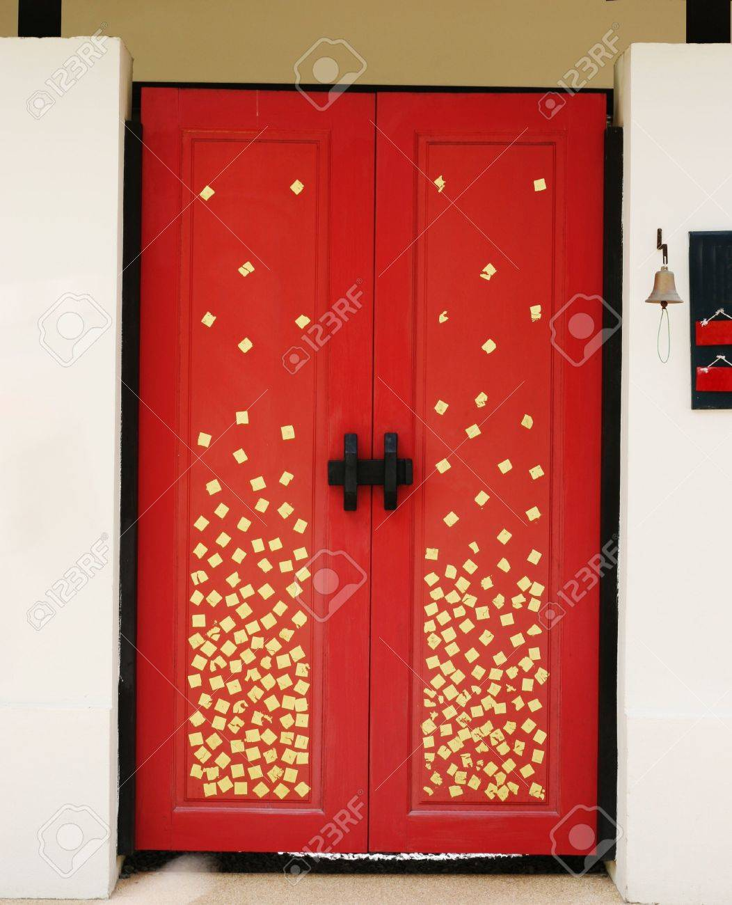 Red Door Decorated With A Gold Pattern Asian Decor Design Stock