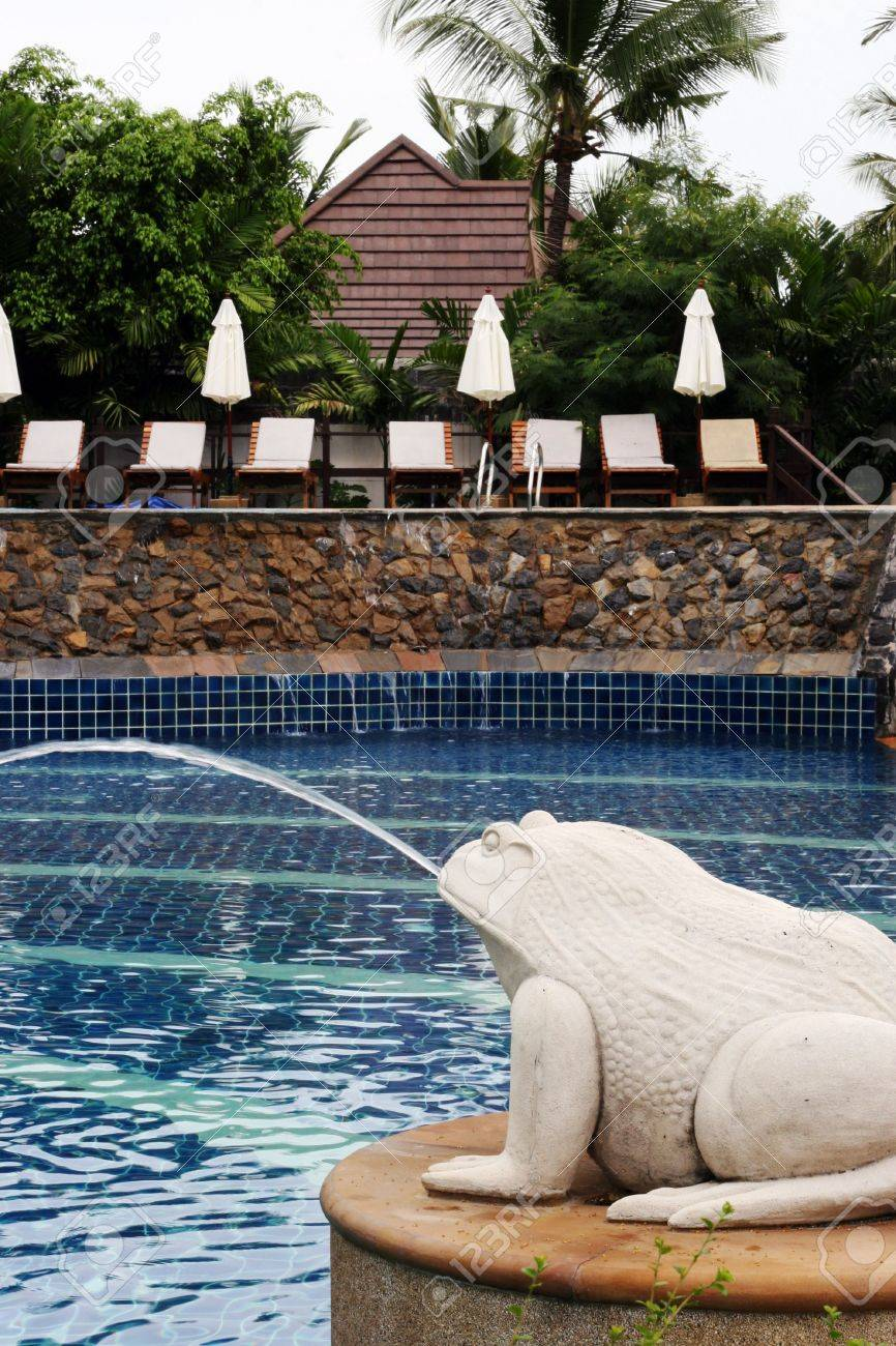 Frog water fountain next to a swimming pool.