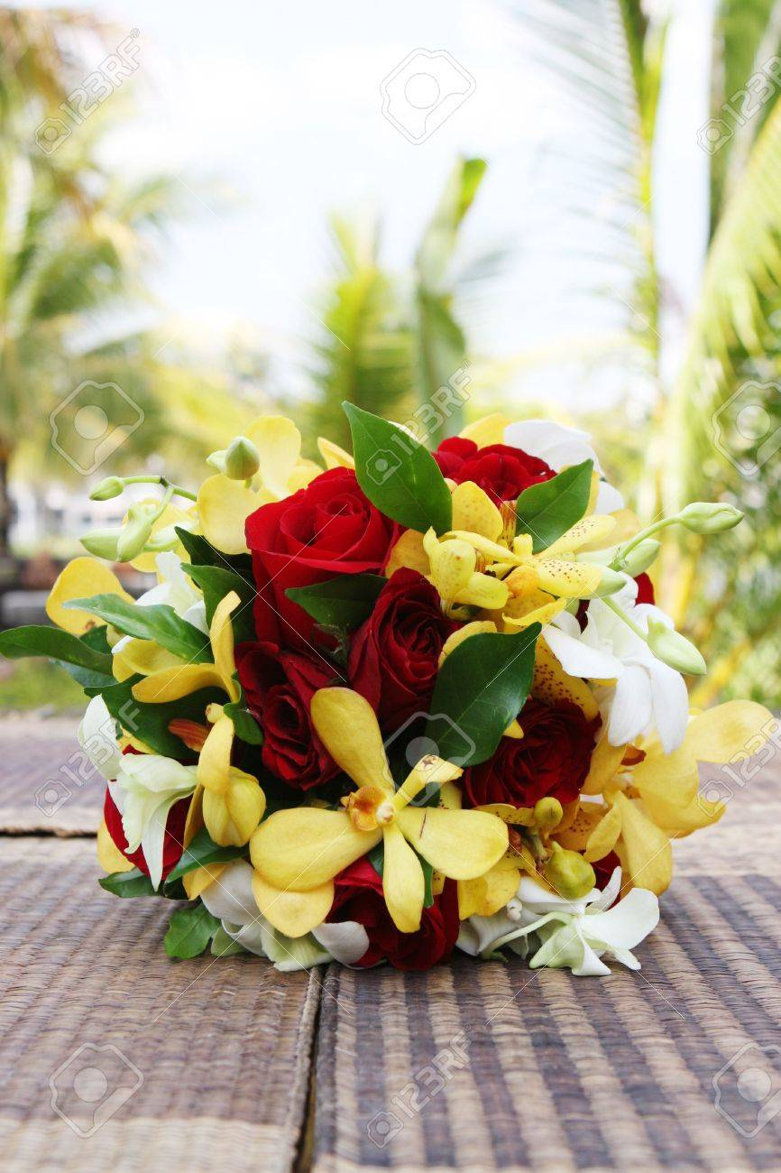 Wedding Bouquet Made Of Gorgeous Tropical Flowers. Stock Photo ...
