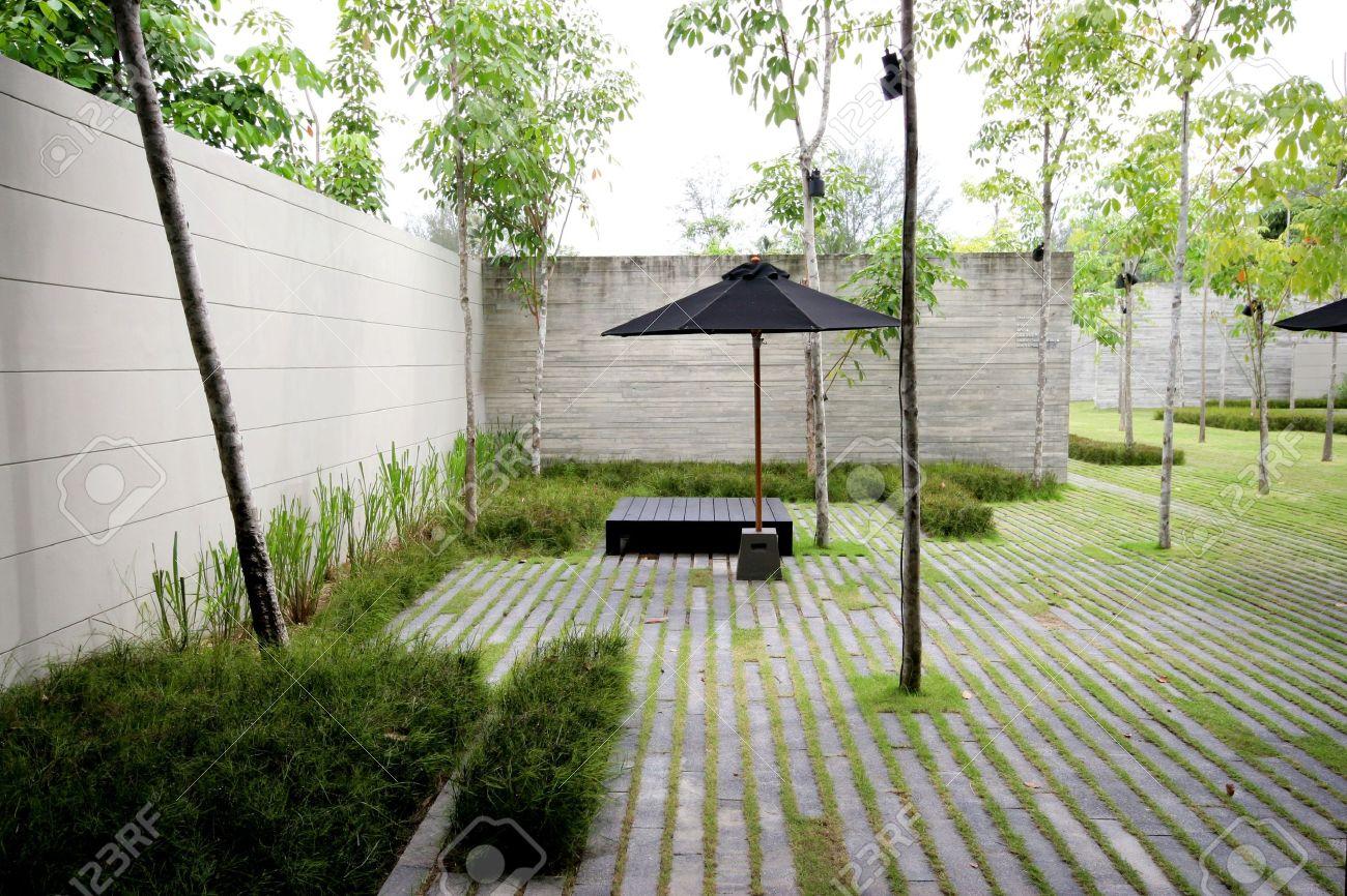 modern zen garden area theme urban nature stock photo picture
