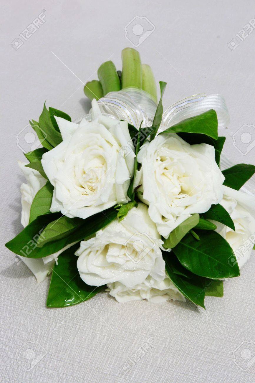 Beautiful Wedding Bouquet Of Long Stemmed White Flowers. Stock Photo ...