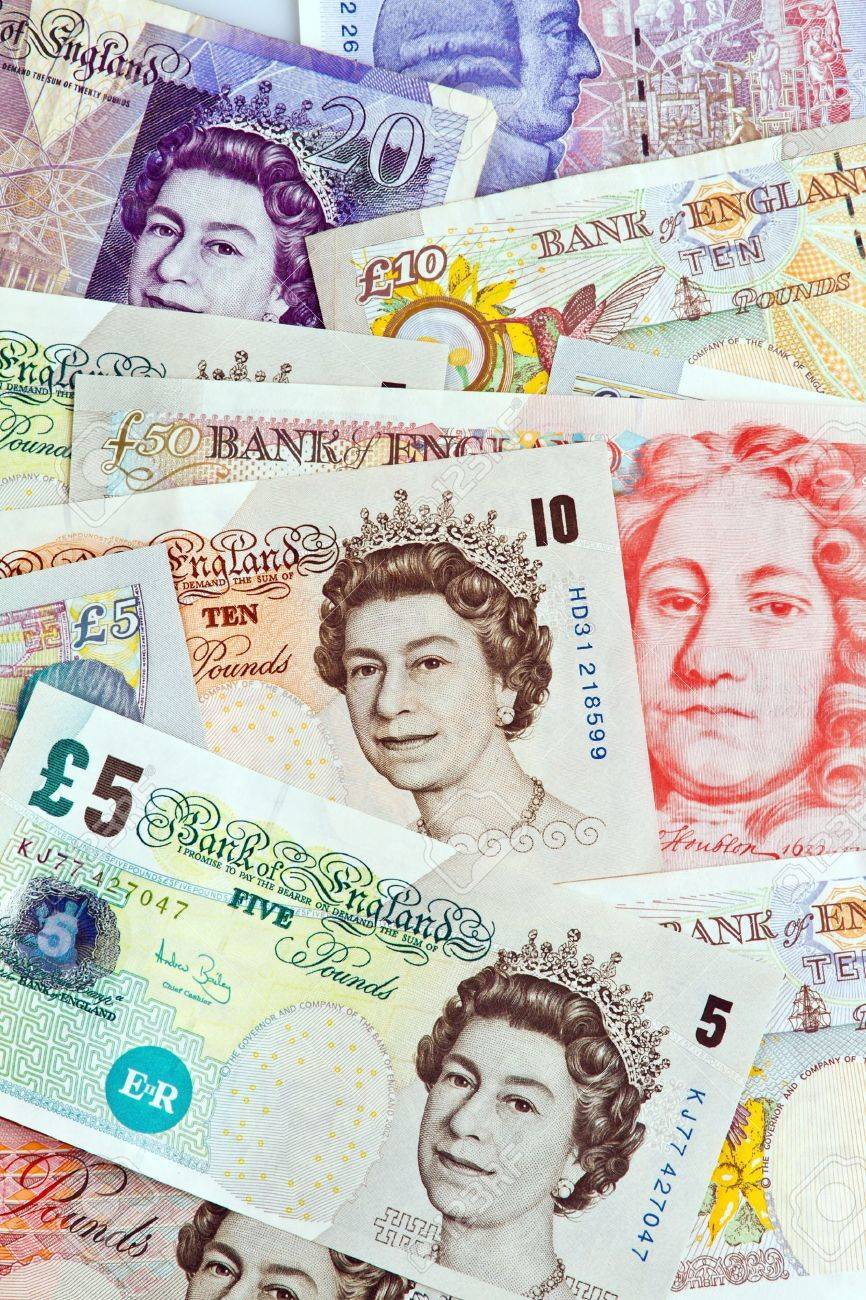 British Pound Notes Pounds Banknotes Currency Stock Photo Money
