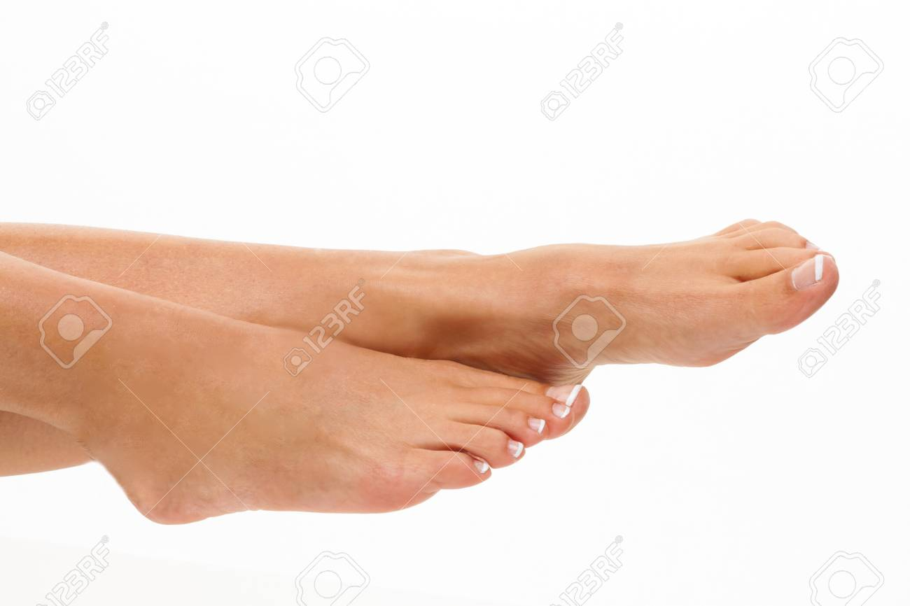 The legs of a woman on a white background. Cut Out Stock Photo - 7856559