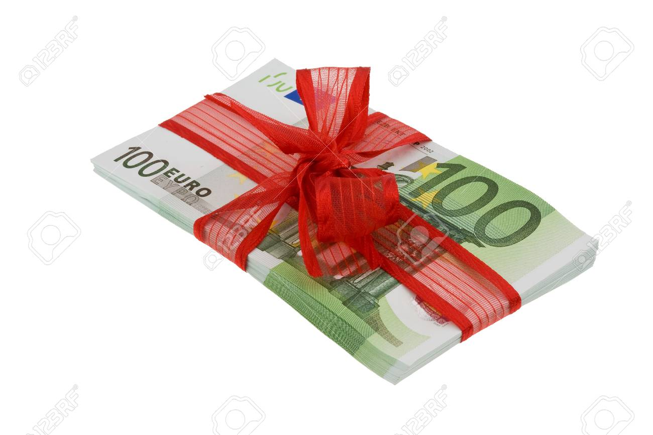 euro banknotes with mesh image for monetary gifts stock photo