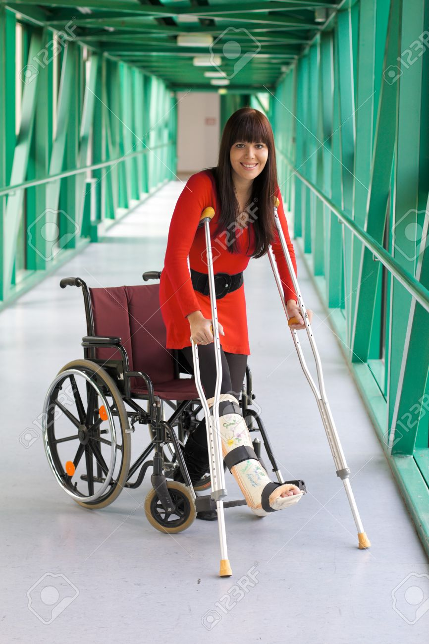 Young woman with leg cast Stock Photo - 8007619