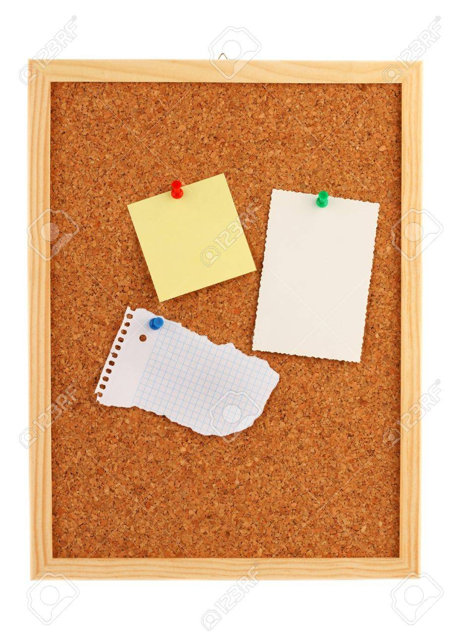Close-up of a Board of cork with a blank notepad Stock Photo - 8469208