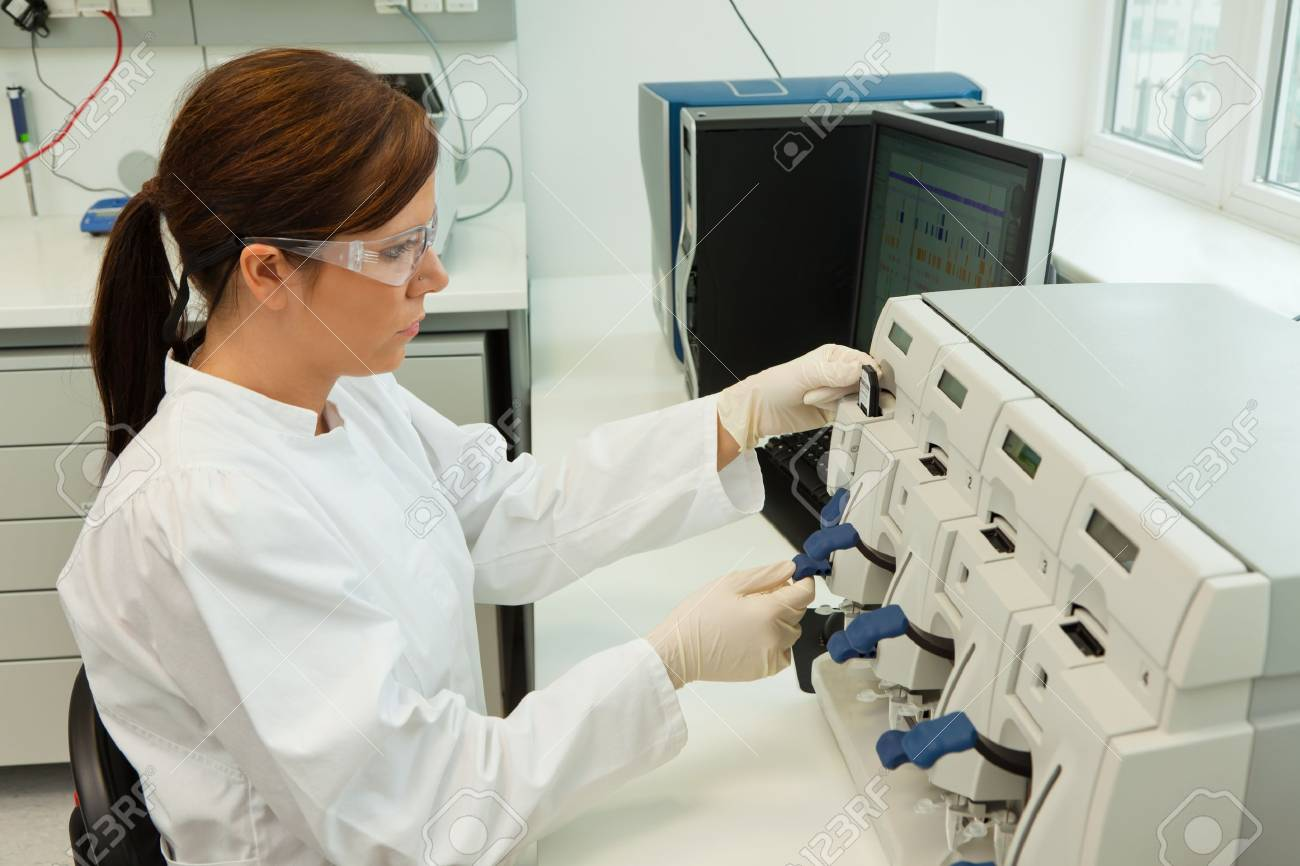 A woman in laboratory research. Research in the research laboratory. Stock Photo - 8644116