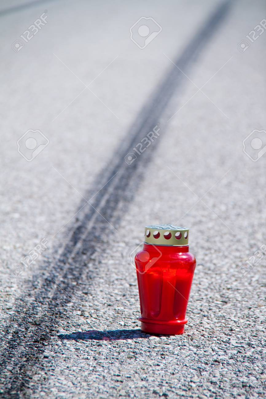 An accident with a motorcycle. Traffic accident and skid marks on road. Representative photo. Stock Photo - 8705698