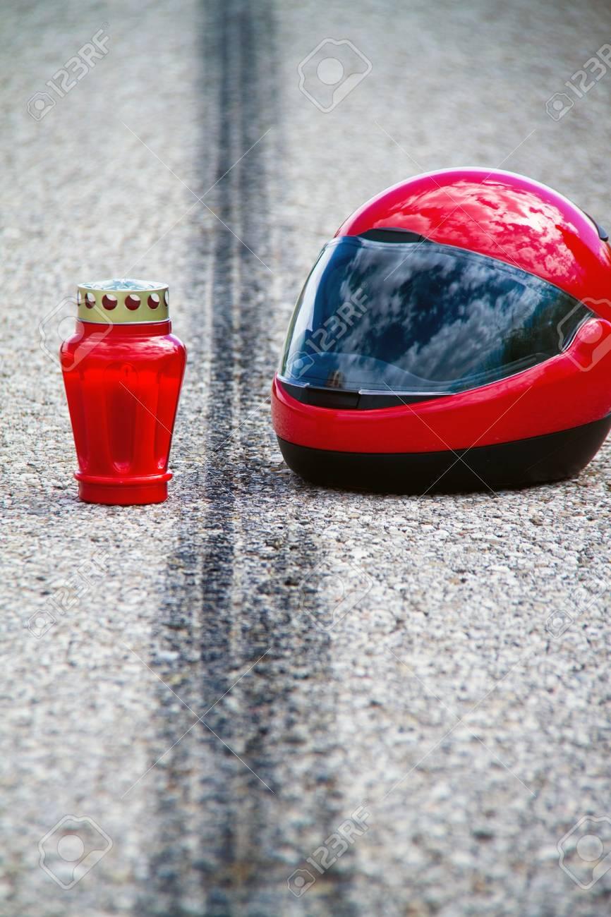 An accident with a motorcycle. Traffic accident and skid marks on road. Representative photo. Stock Photo - 8705720