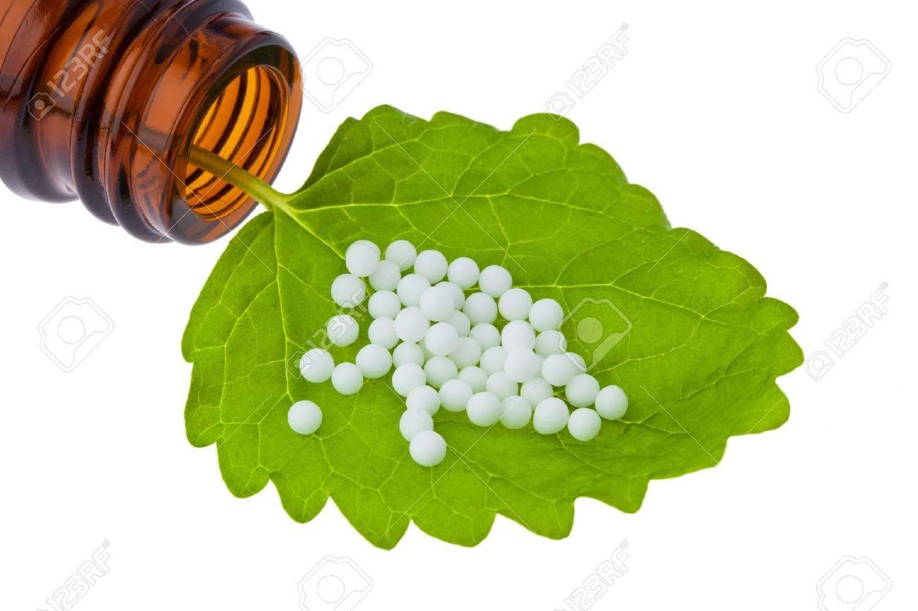 Homeopathy. Globules as alternative medicine. Lying on a leaf. Stock Photo - 8910655