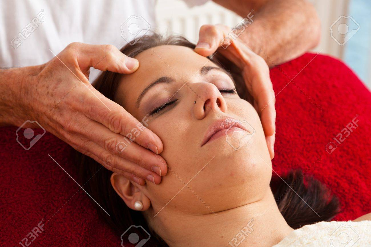 Relaxation, peace and well-being through massage. Head massage Stock Photo - 9199379