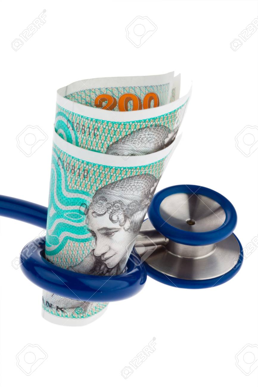 Danish crowns. Currency from Denmark in Europe. Stethoscope. Health costs. Stock Photo - 9259969