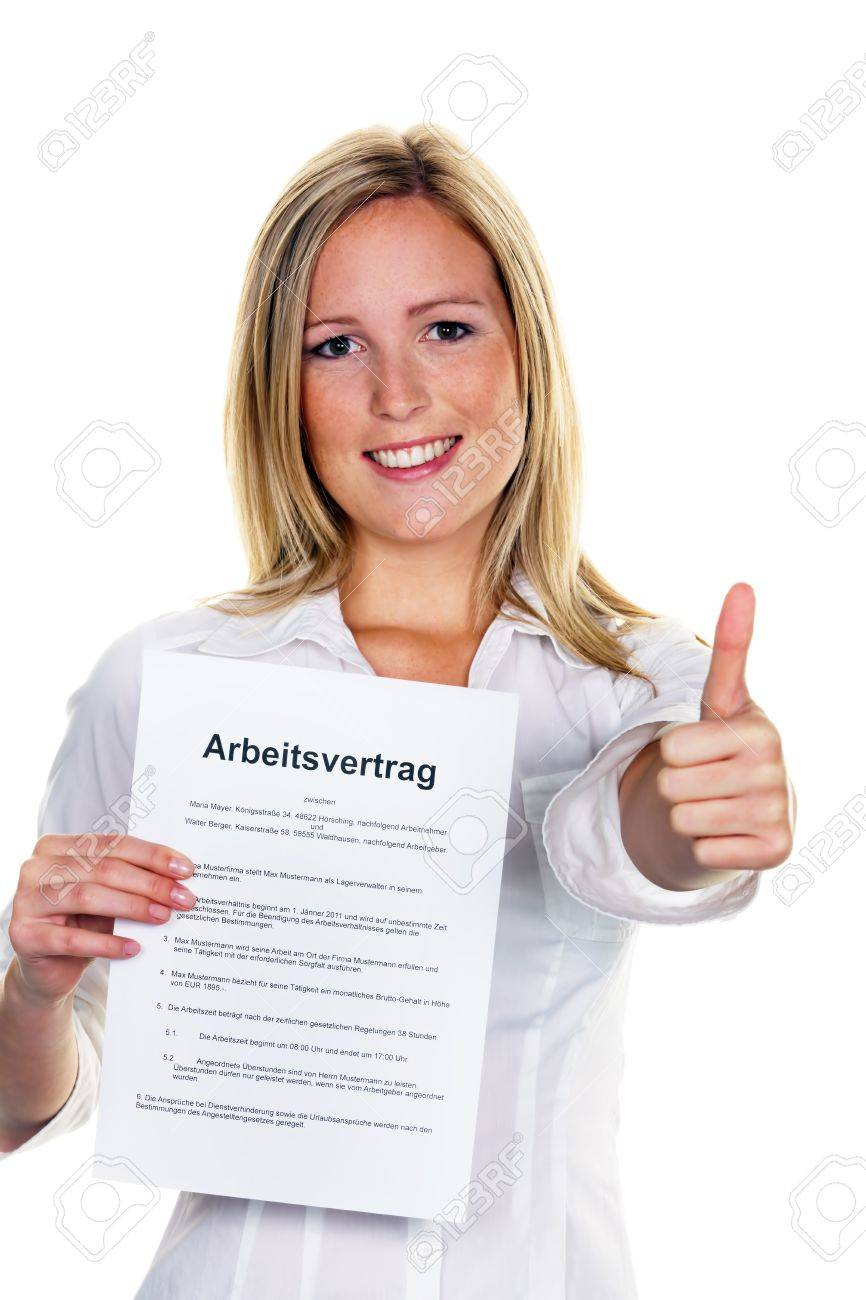 A young woman with a job during the interview was successful. Stock Photo - 10486788