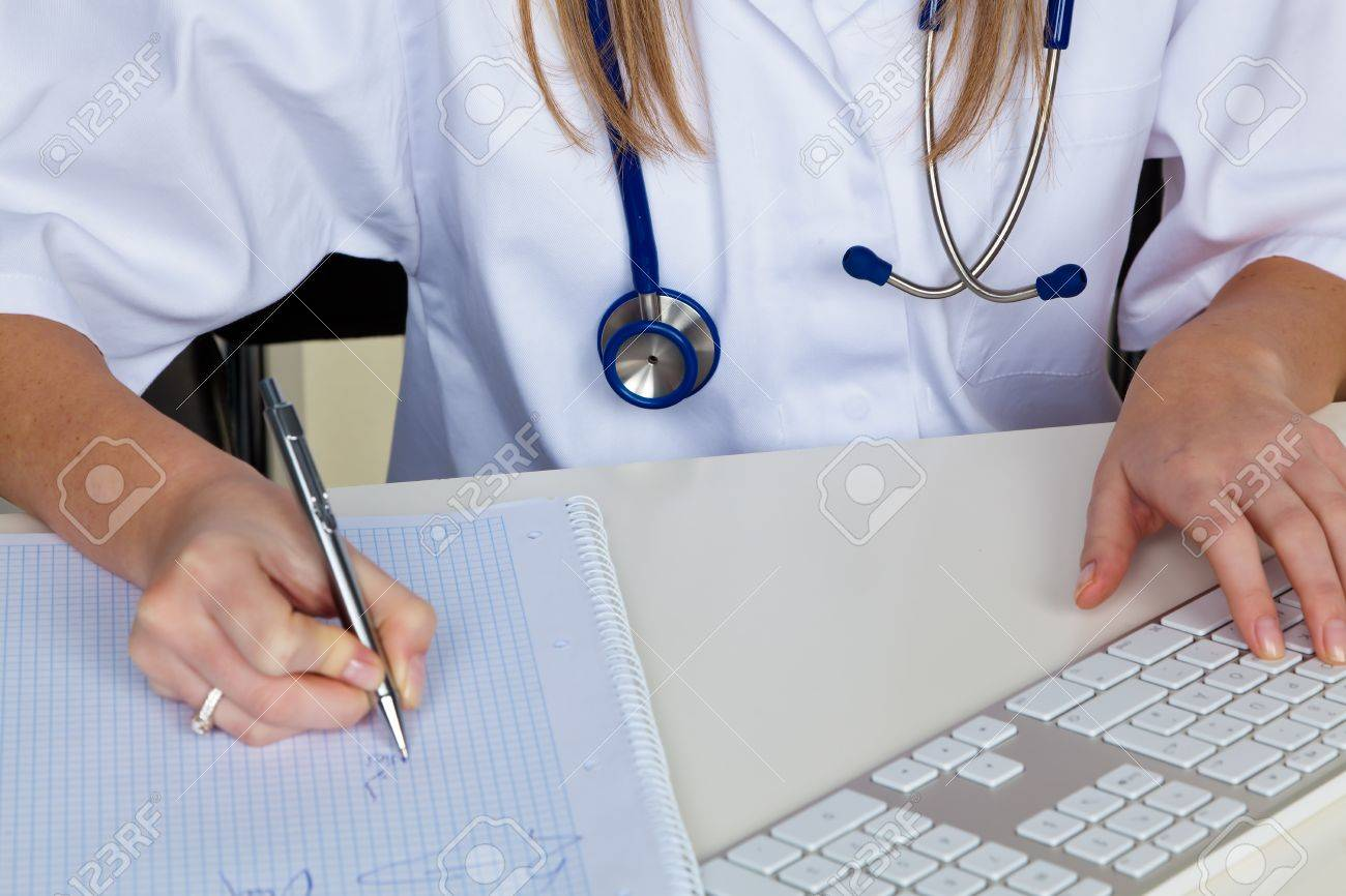 a young doctor in the doctor's office. with stethoscope Stock Photo - 10860702