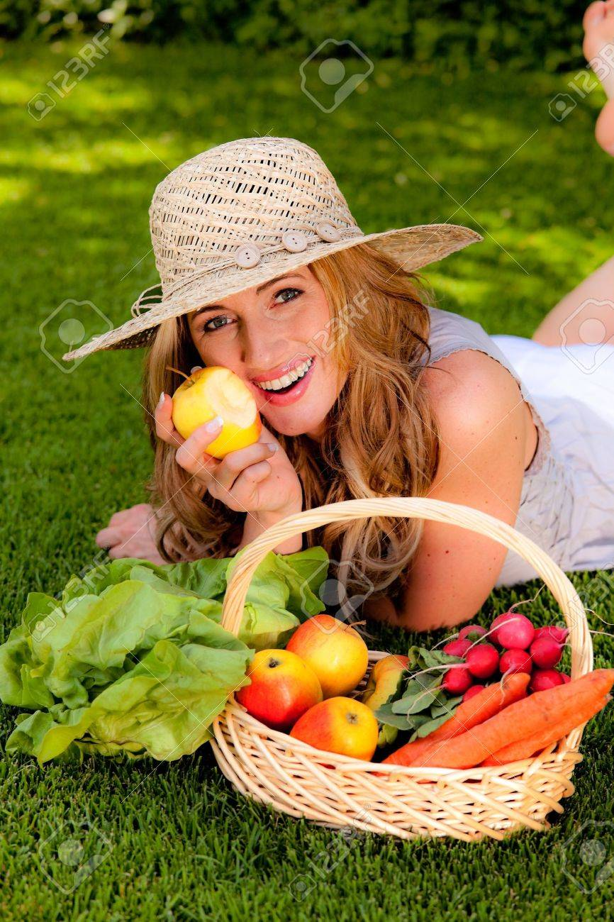 fruits and vegetables in the basket with his wife Stock Photo - 11103901