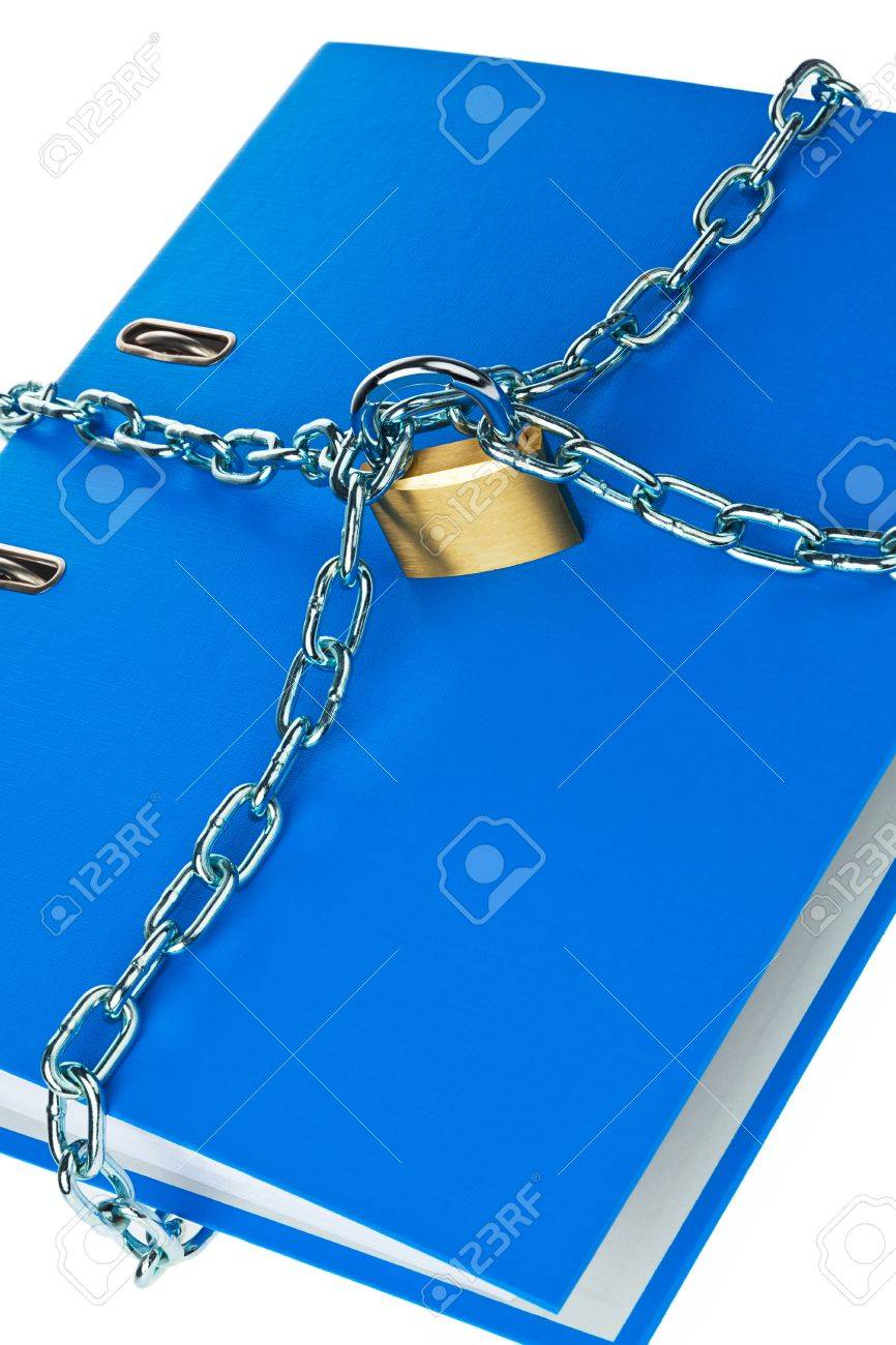 a file folder with chain and padlock closed. privacy and data security. Stock Photo - 11854983