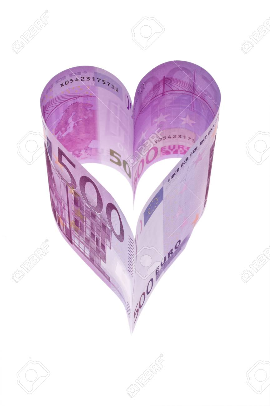 € 500 Bill In The Form Of A Heart Stock Photo, Picture And Royalty Free  Image. Image 13143221.
