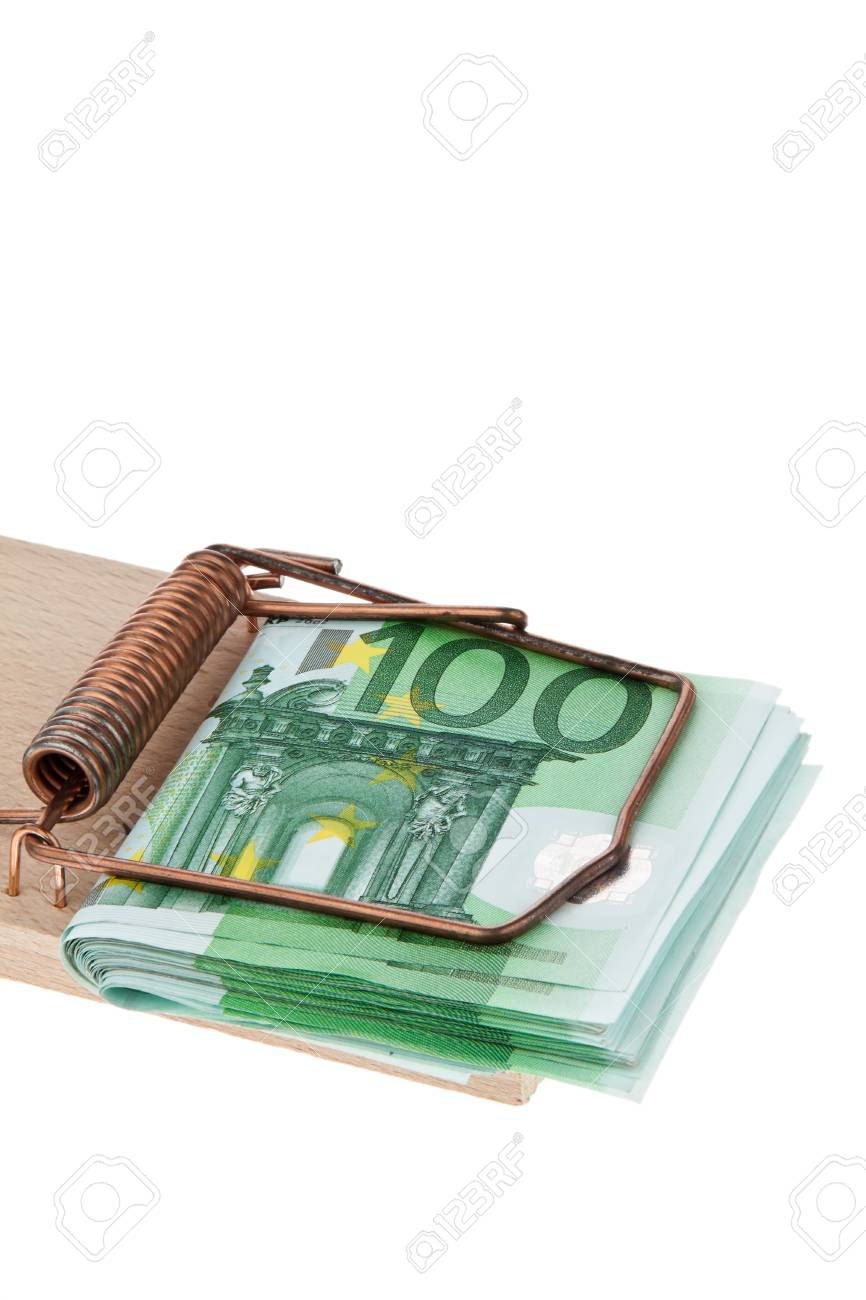 many euro bank notes in a mousetrap Stock Photo - 13143333