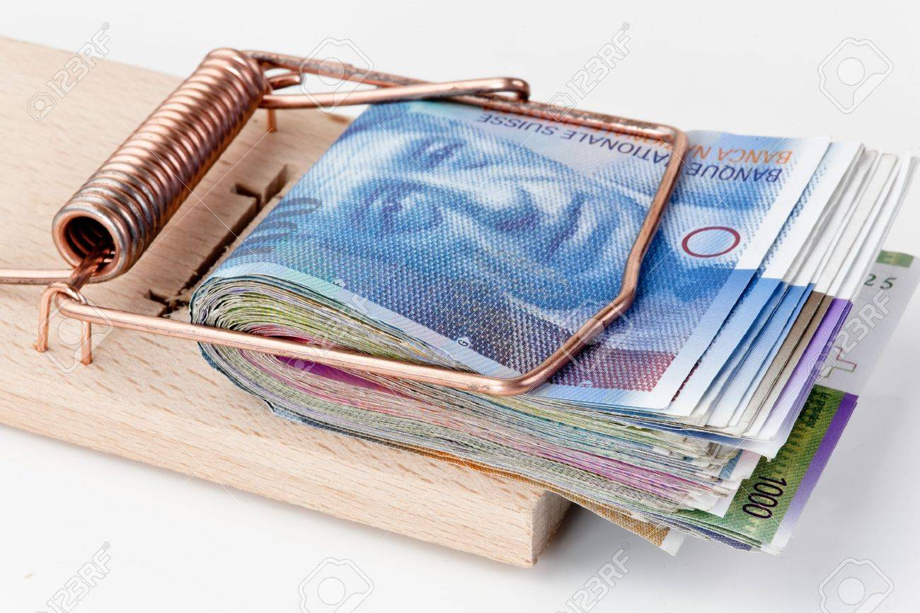 many swiss francs banknotes in mouse trap Stock Photo - 13143757
