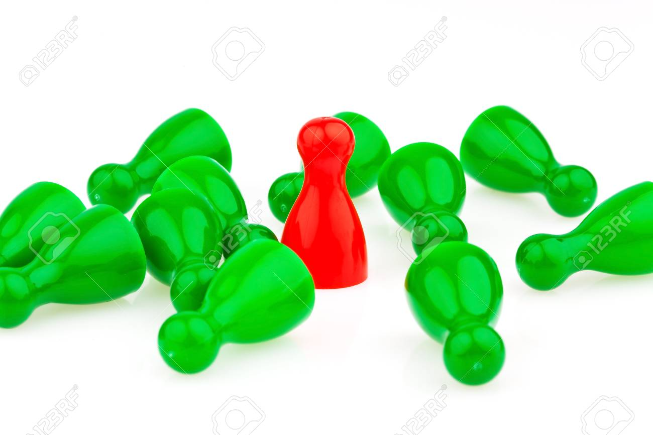 red and green characters  bullying, loneliness and outsider in the team Stock Photo - 13776588