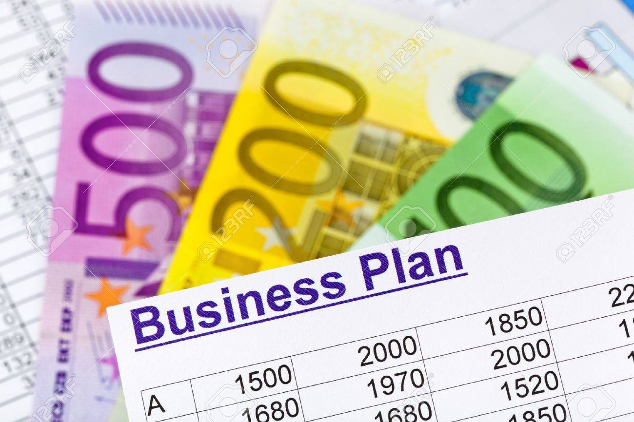 a business plan for starting a business  ideas and strategies for self-employment  euro notes Stock Photo - 15683767