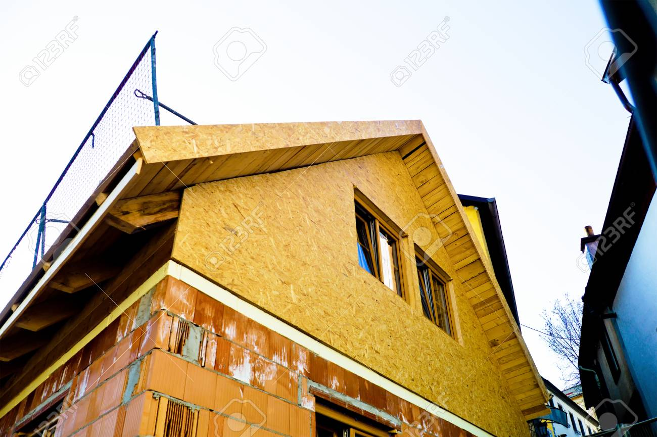 construction of a family house under construction  solid construction with brick and wood Stock Photo - 16152378