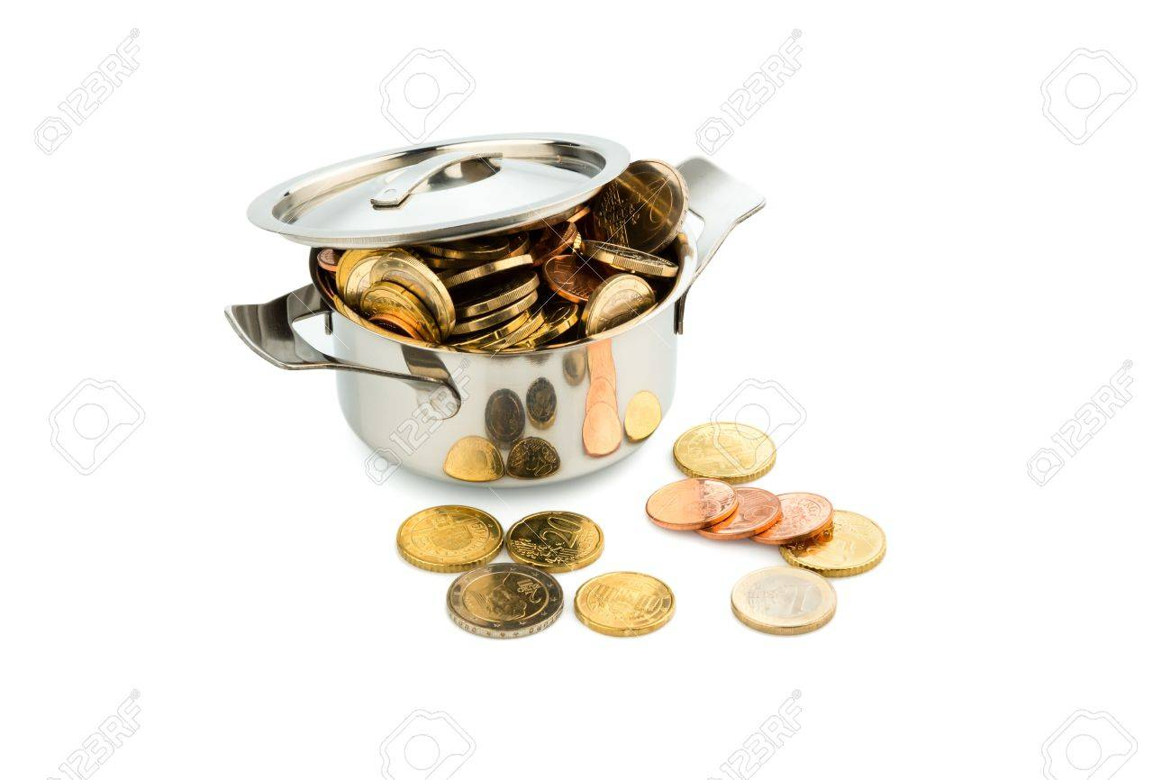 a pot filled with euro coins photo icon for government subsidies Stock Photo - 17121908
