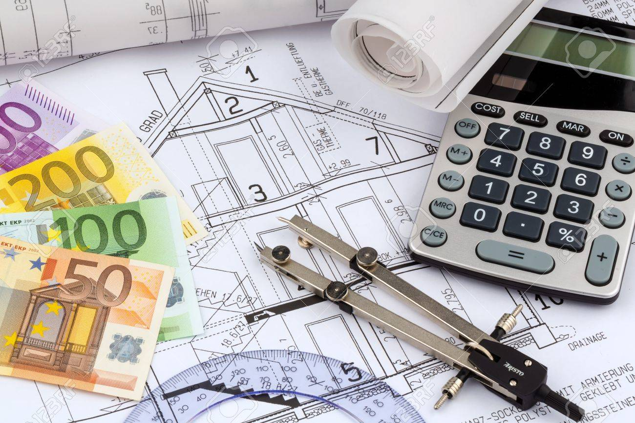 An architect s blueprint with a calculator and euro money symbolic an architect s blueprint with a calculator and euro money symbolic photo for funding and planning malvernweather Gallery