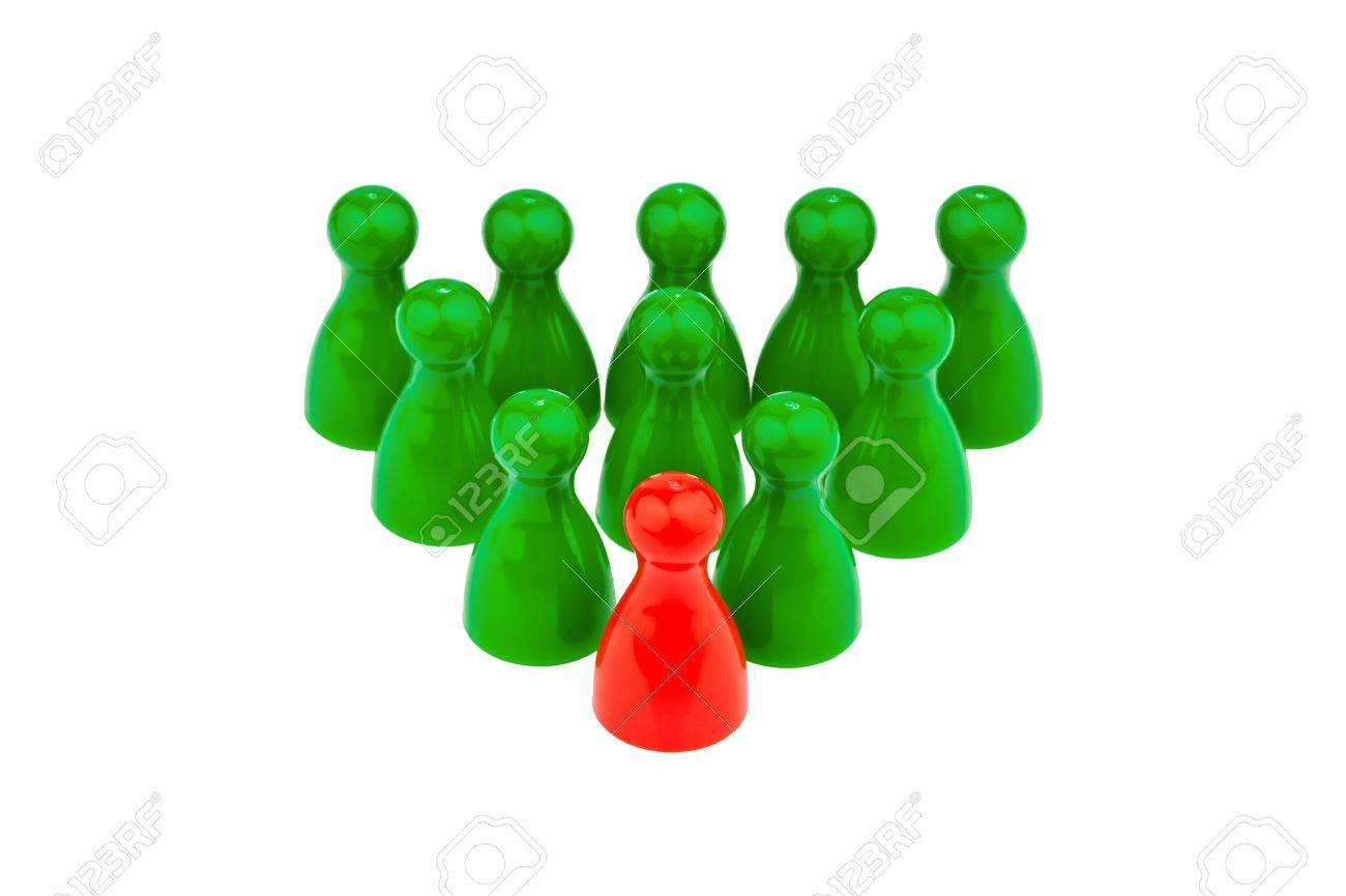 red and green pawns  manager and team leader Stock Photo - 19419857