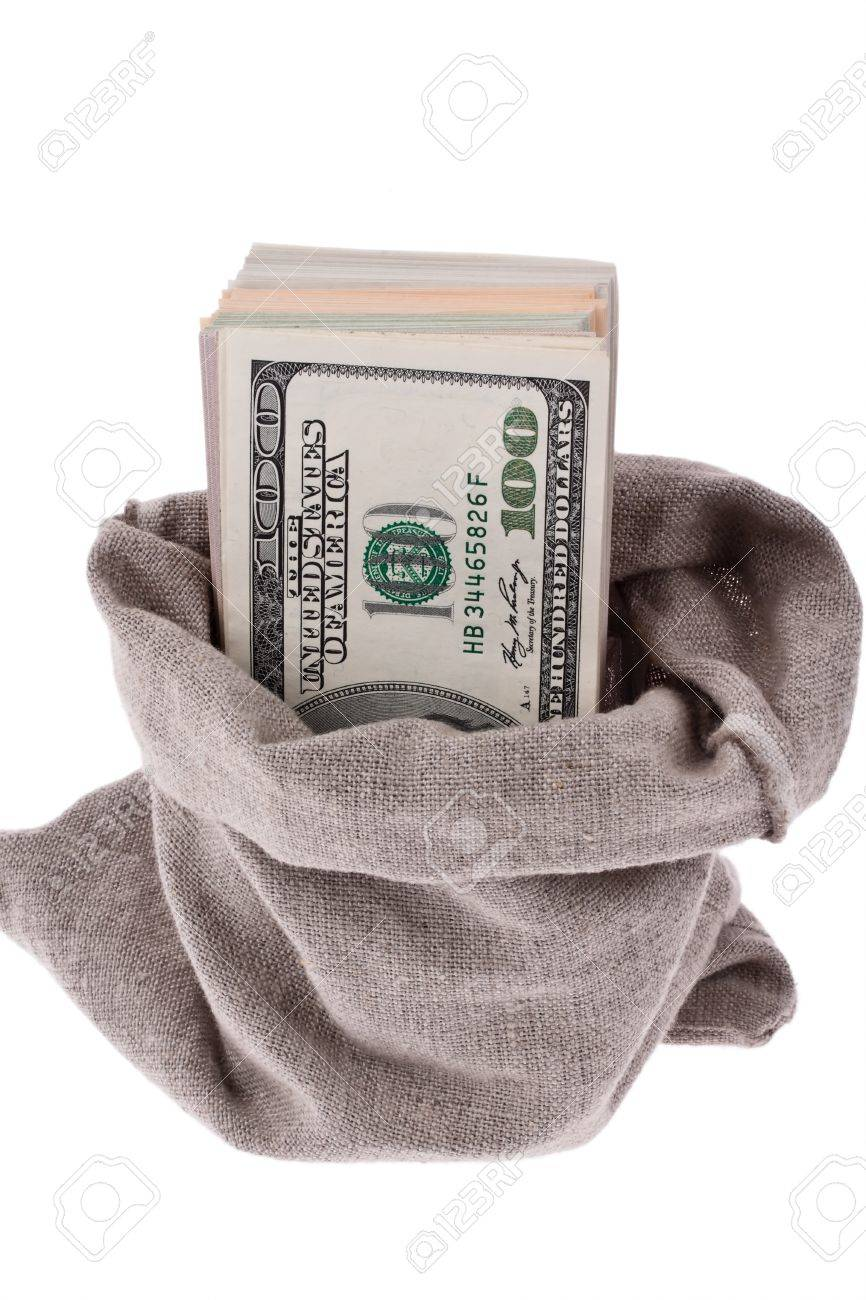many dollar bills in a bag Stock Photo - 19420087