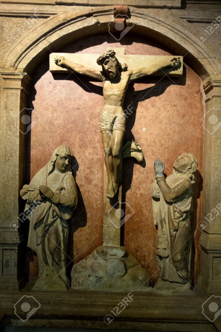 a crucifixion scene in a church jesus christ on the cross good