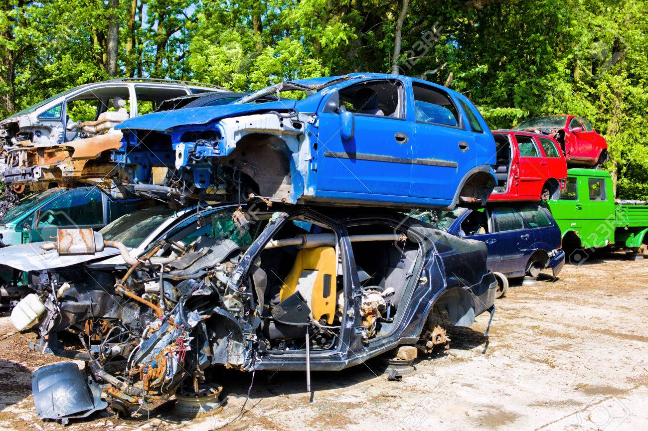 Junkyard, Broken Cars, Scrapping Of Old Vehicles Stock Photo ...