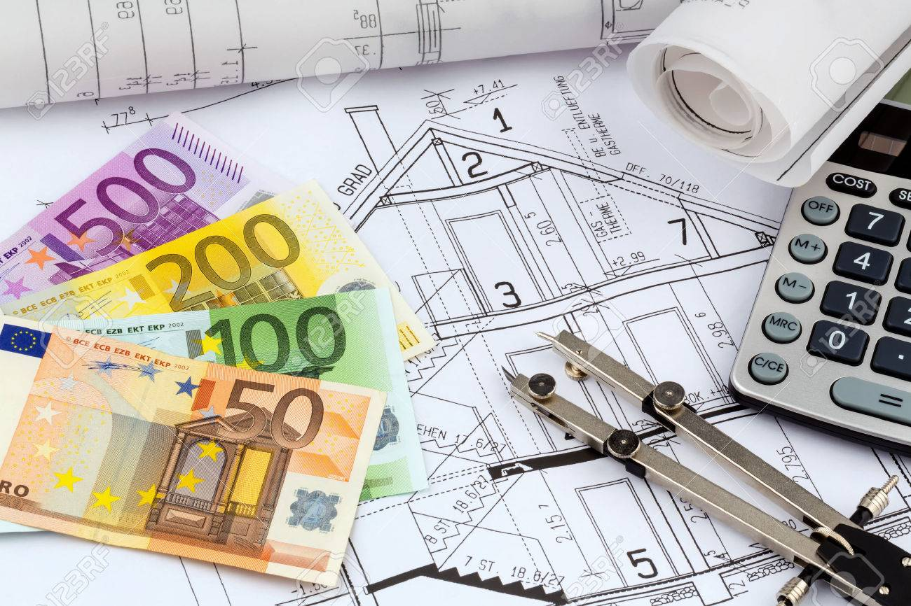 An architects blueprint with a calculator and euro money stock an architects blueprint with a calculator and euro money stock photo 25077706 malvernweather Image collections