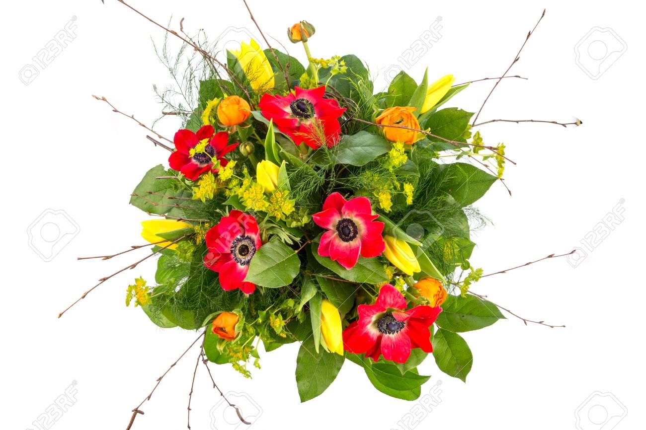Mazzo Di Fiori Primaverili.A Colorful Bouquet Of Spring Flowers On A White Stock Photo