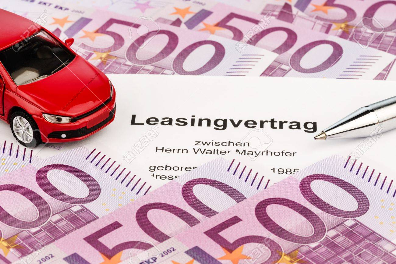 the lease car leasing for a new car at the car dealer stock photo