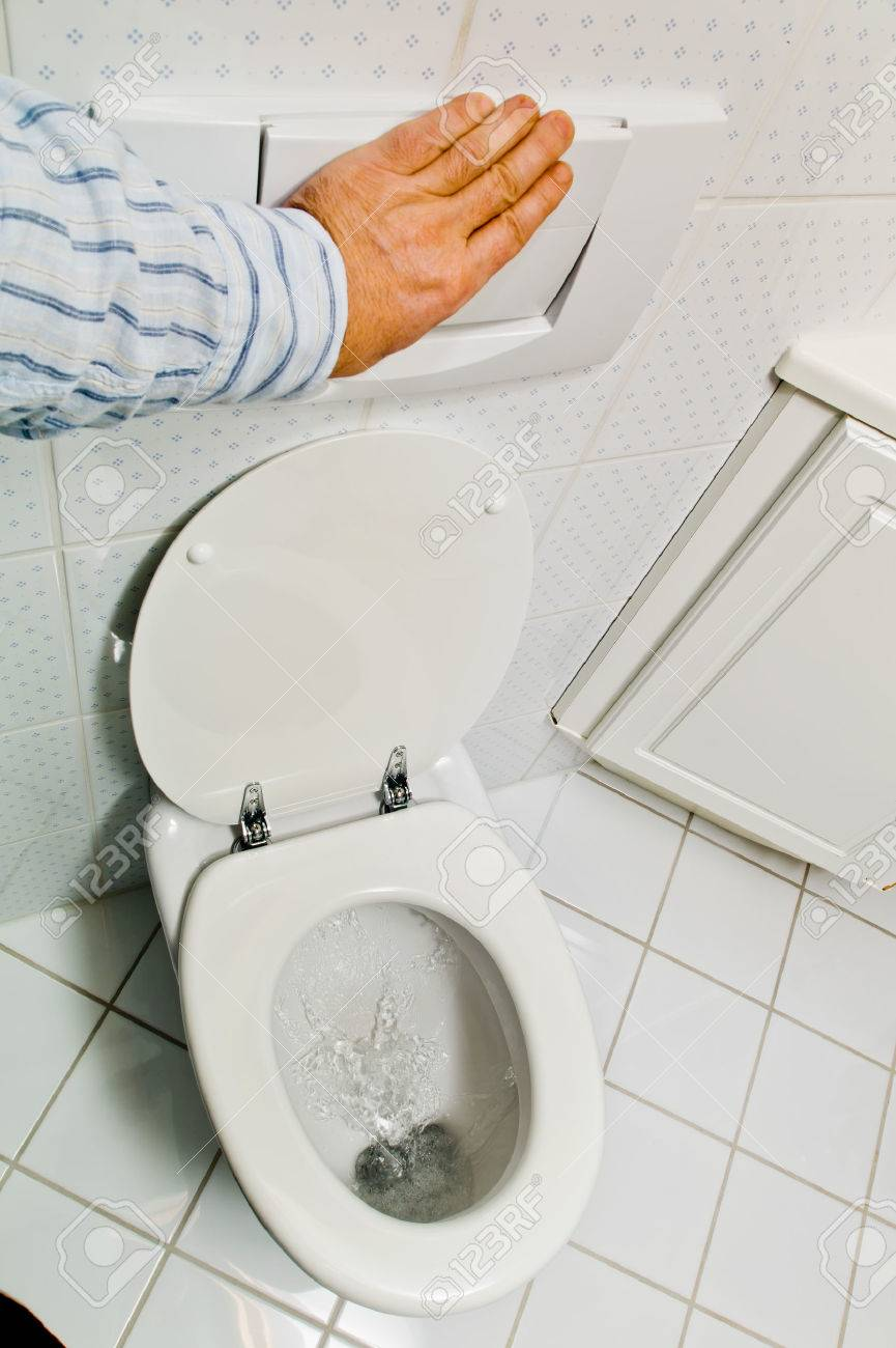 a hygienic flush toilet in a household. bathroom and toilet Stock Photo - 25801436
