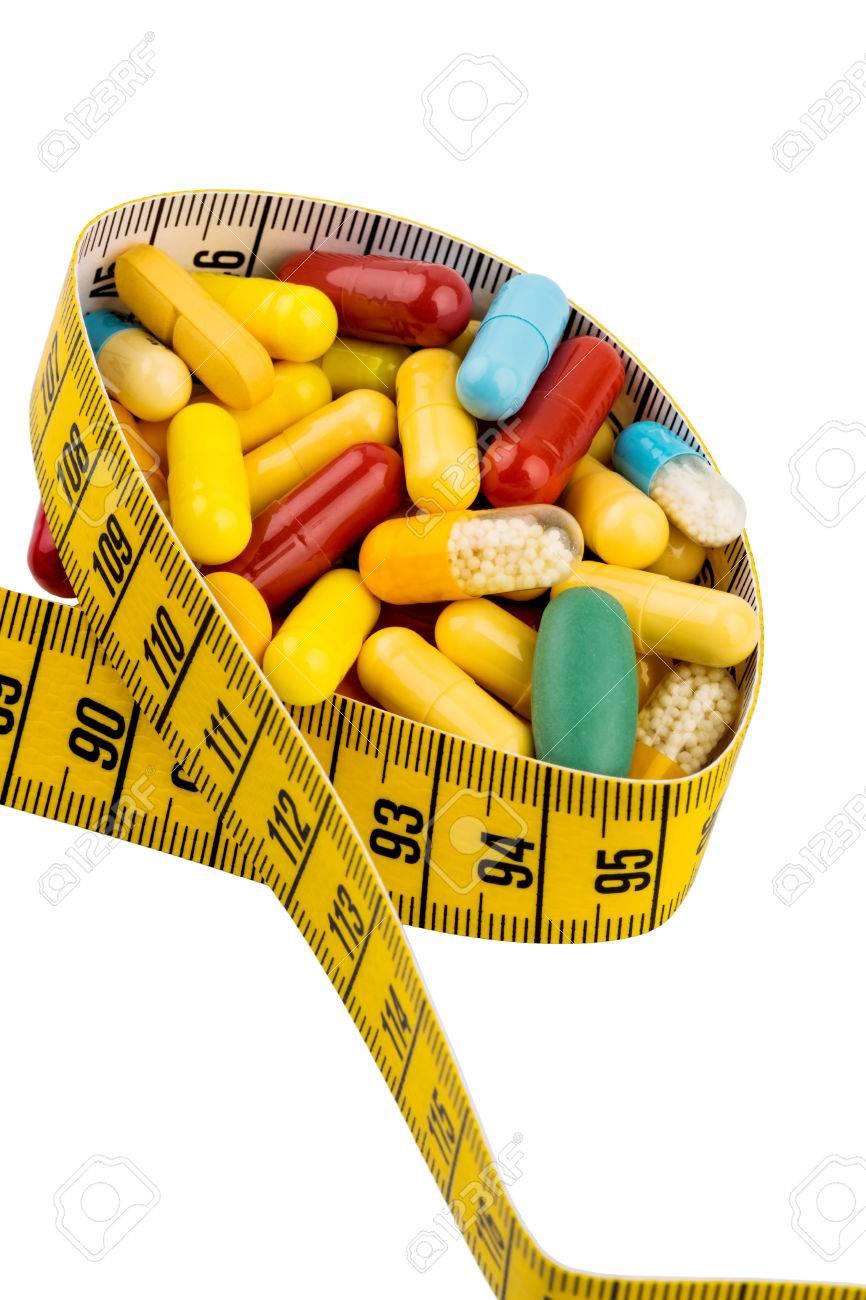 Tabletten Und Messband Symbol Foto Fur Appetitzugler Diatpillen