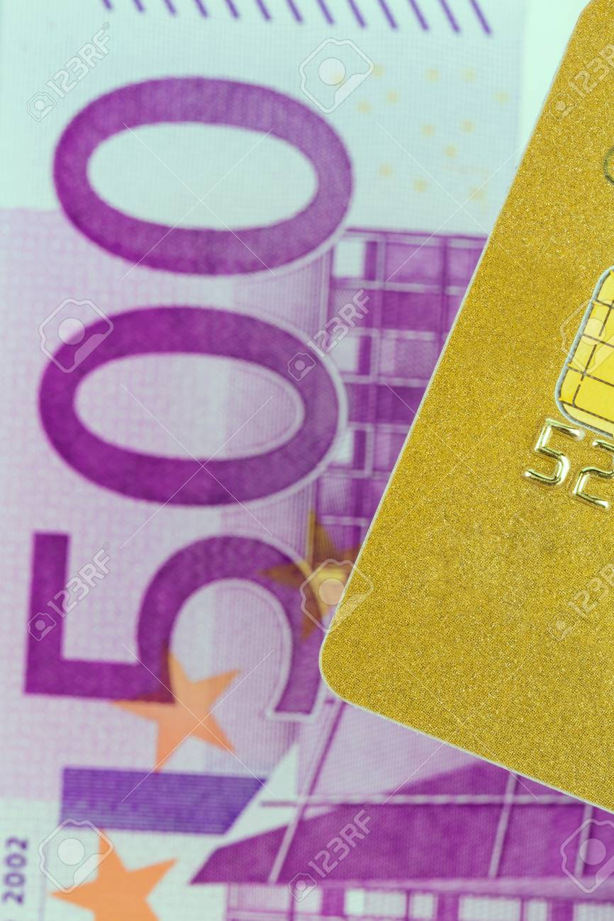 A Golden Credit Card And Euro Banknotes Symbolic Photo For Cashless