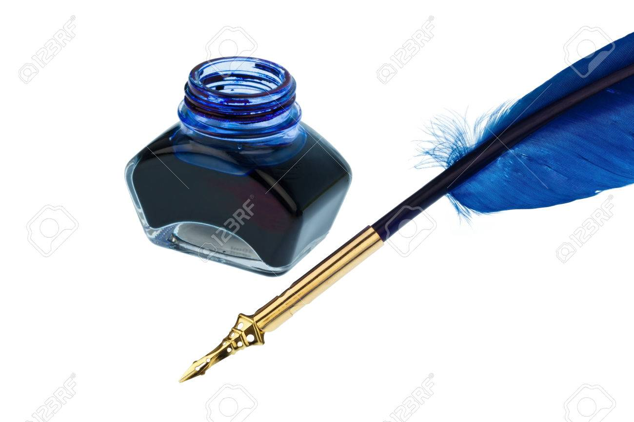 ff8ac7442632b a blue feather pen with an ink bottle on white background