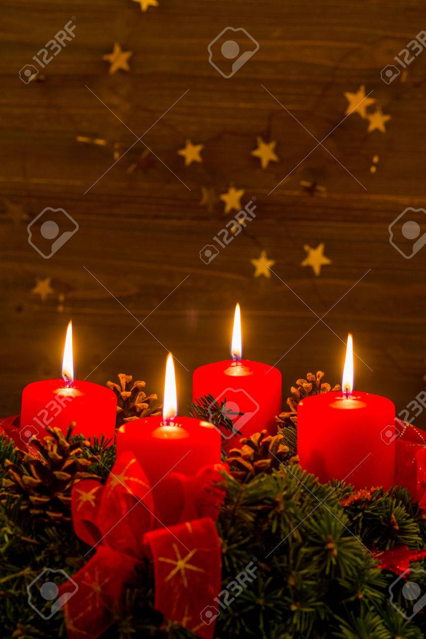 An Advent Wreath For Christmas Ensures Romatinsche Mood In The Silent Stock Photo