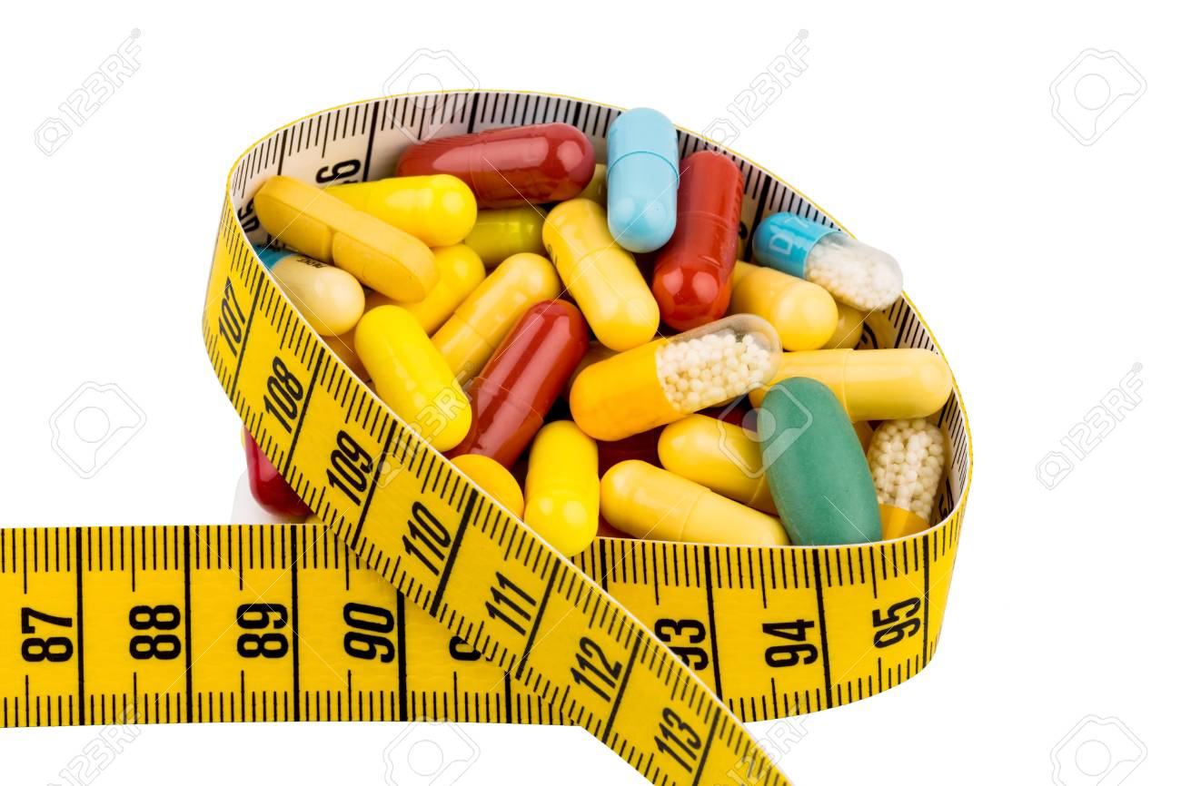 Tabletten Und Massband Symbolfoto Fur Appetitzugler Diatpillen Und