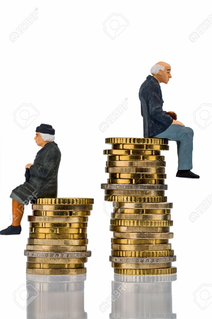 pensioners and pensioner sitting on money stack symbol photo for retirement and inequality Stock Photo - 38546568