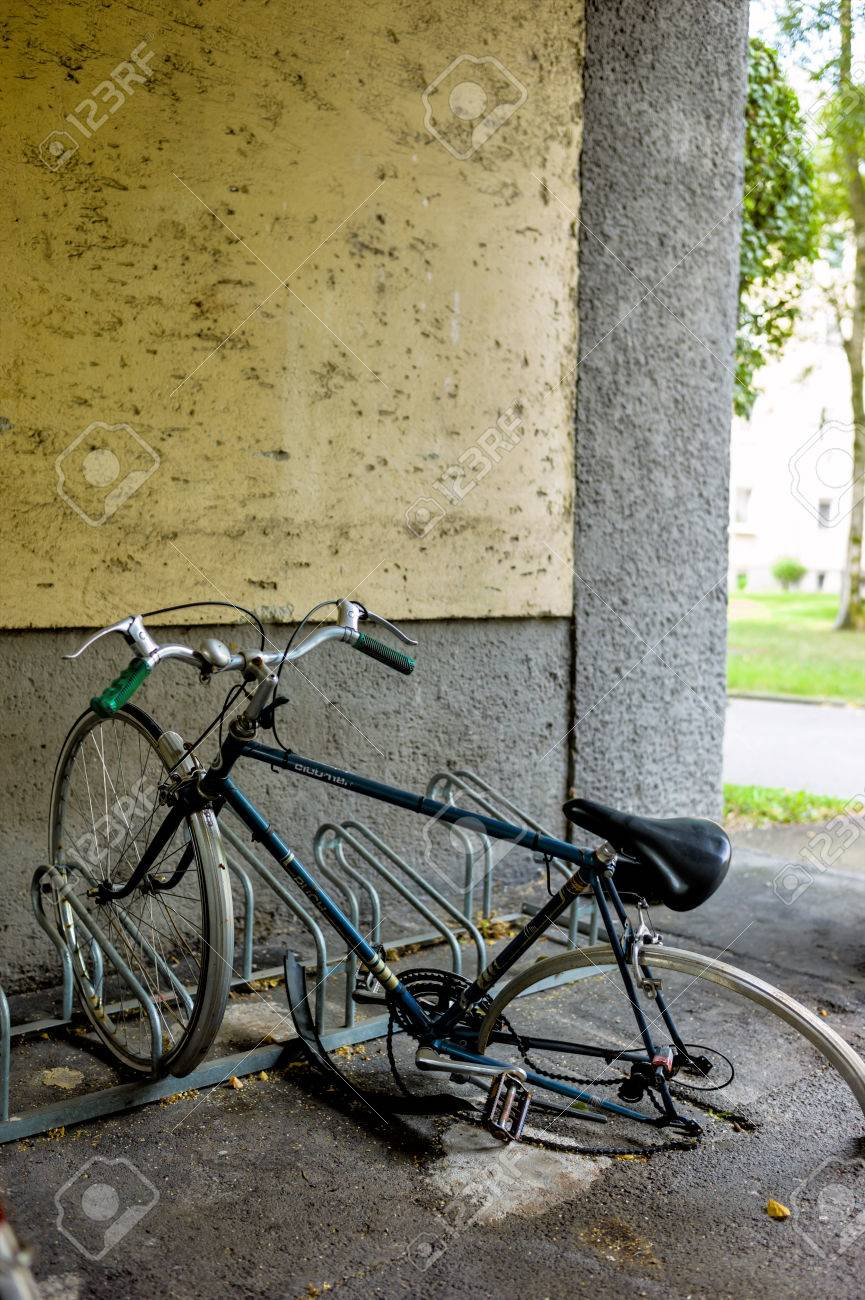 Broken Bike In The Bike Racks A Symbol Of Bad Luck Decay