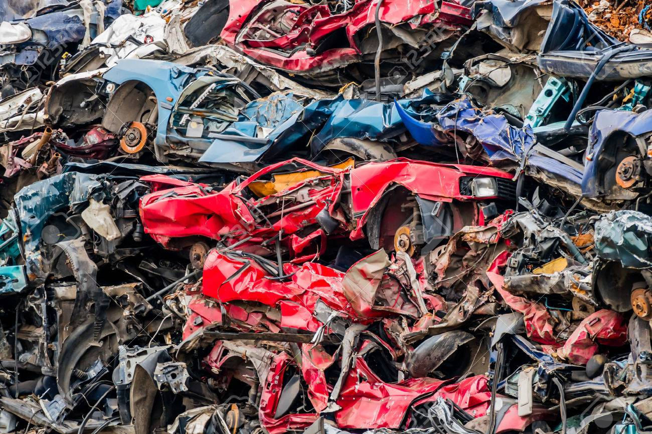 Old Cars Were Scrapped In A Trash Compactor. Scrap Iron And ...