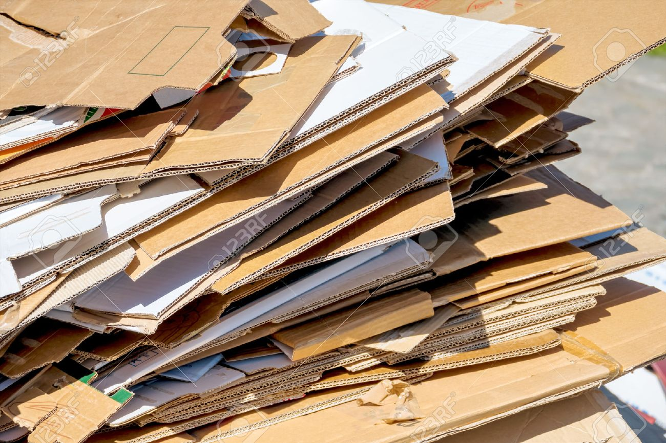 cartons waiting to be picked up by the garbage trucks. recycling of waste paper. Stock Photo - 39447813