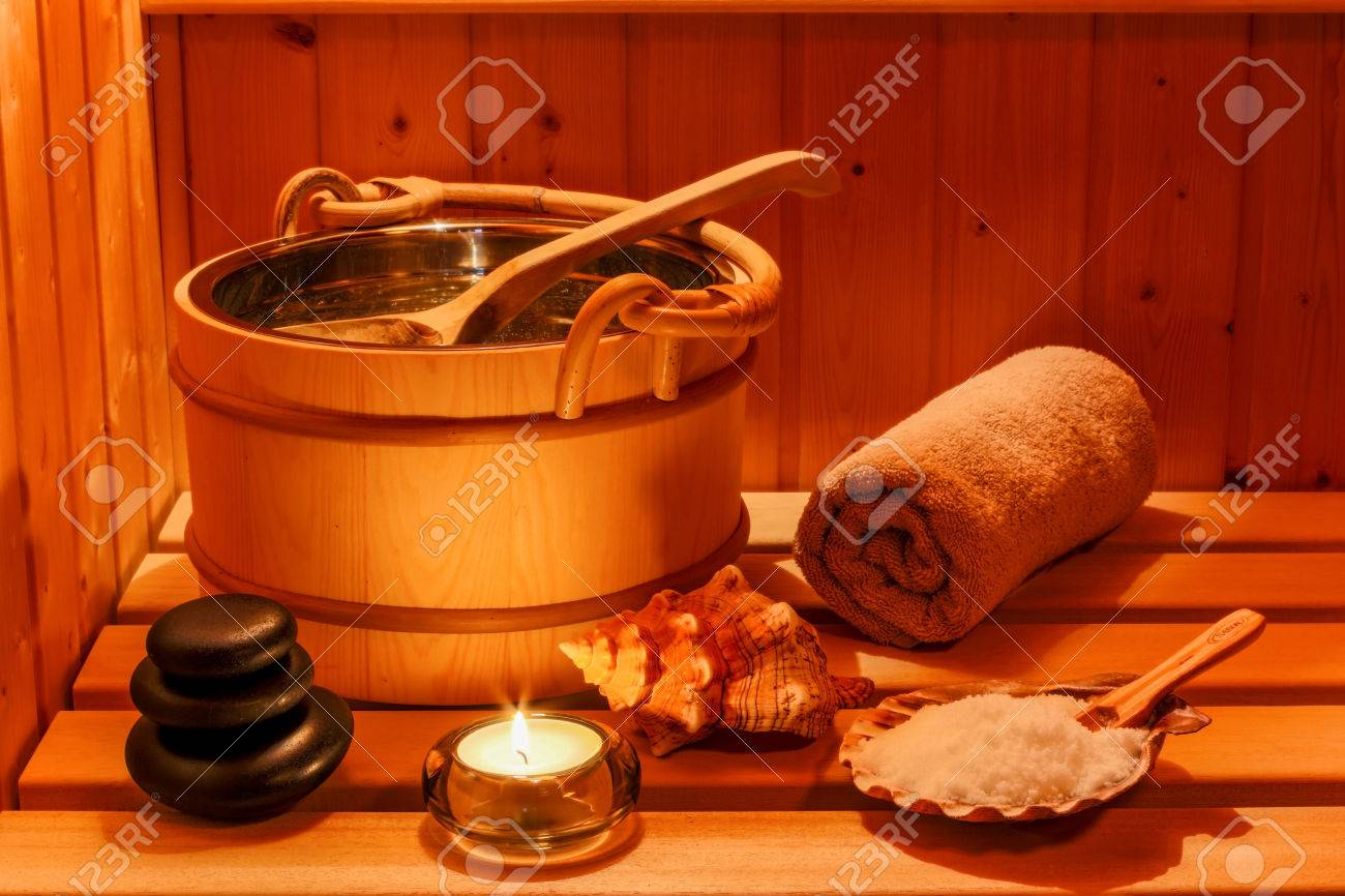 cozy atmosphere in the sauna at a spa area of wellness hotel. recreation and relax from everyday life. Stock Photo - 39707691